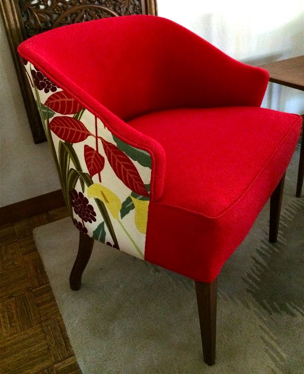 Red wool and Robert Allen fabric