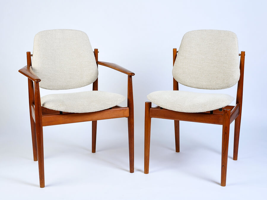 Finn Juhl dining chairs with soft plush ivory