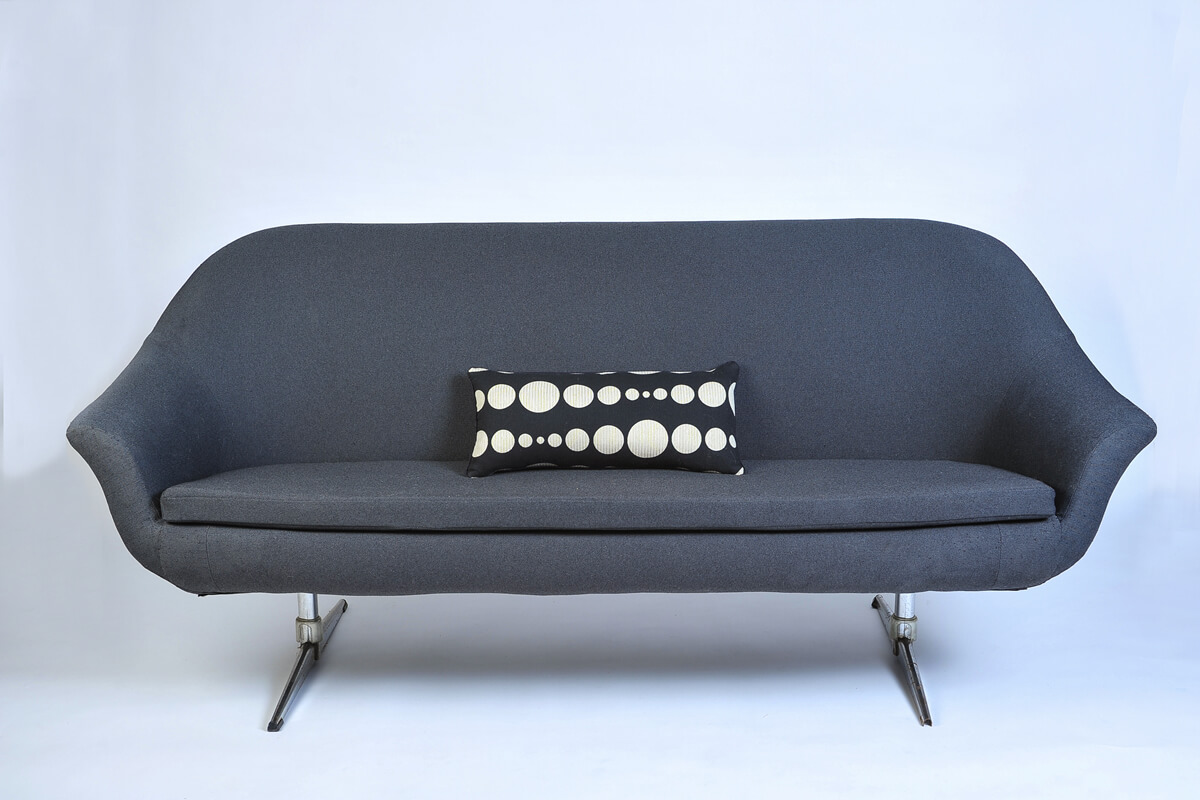 Overman Swedish Mid-Century Modern Dark Gray Sofa