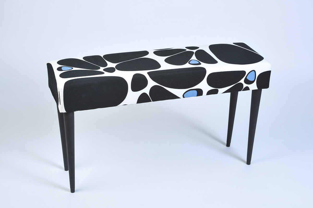 Mid Century Modern bench in Marimekko fabric